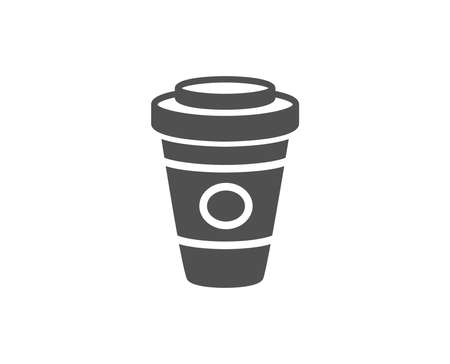 Takeaway Coffee or Tea simple icon. Hot drink sign. Beverage symbol. Quality design elements. Classic style. Vector