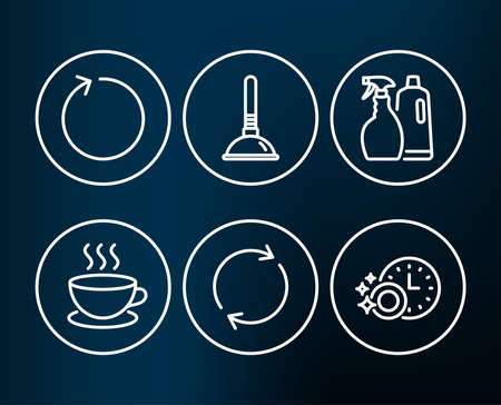 Set of Shampoo and spray, Plunger and Full rotation icons. Loop, Cappuccino and Dishwasher timer signs. Washing liquids, Clogged pipes cleaner, Refresh or reload. Vector