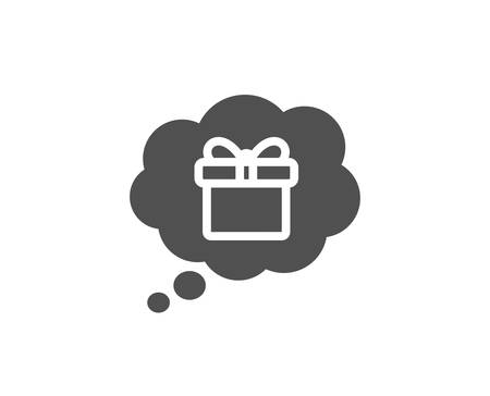 Dreaming of Gift simple icon. Present box in Comic speech bubble sign. Birthday Shopping symbol. Package in Gift Wrap. Quality design elements. Classic style. Vector