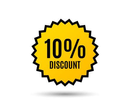 10% Discount. Sale offer price sign. Special offer symbol. Star button. Graphic design element. Vector