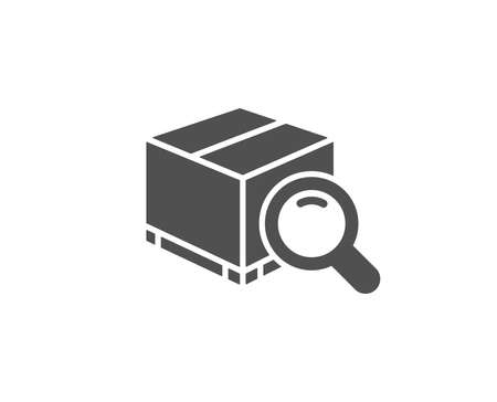 Search package simple icon. Delivery box sign. Parcel tracking symbol. Quality design elements. Classic style. Vector