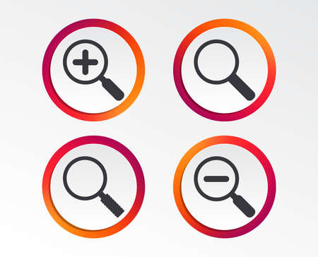 Magnifier glass icons. Plus and minus zoom tool symbols. Search information signs. Info-graphic design buttons. Circle templates. Vector illustration. 版權商用圖片 - 96515752