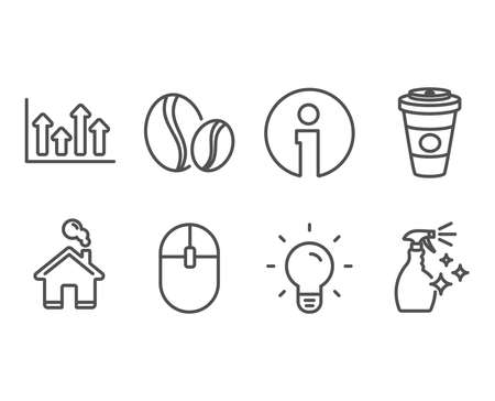 Set of coffee beans, Upper arrows and computer mouse icons. Light bulb, takeaway coffee and washing cleanser signs. Whole bean, growth info chart, Pc equipment. Vector illustration. Çizim