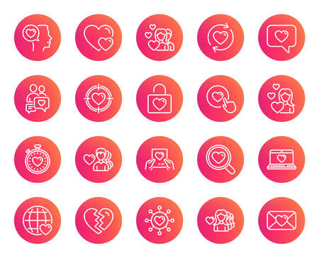 Love line icons. Couple, romantic and heart signs. Valentines day symbols. Divorce or break up. Trendy gradient circle buttons. Quality design elements. Vector illustration. Illustration