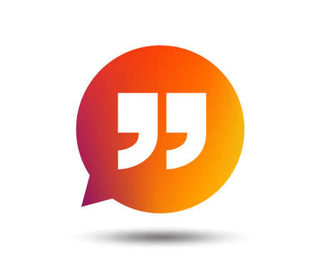 Quote sign icon. Quotation mark in speech bubble symbol. Double quotes. Blurred gradient design element. Vivid graphic flat icon. Vector illustration. 向量圖像