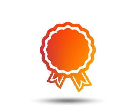 Award icon. Best guarantee symbol. Winner achievement sign. Blurred gradient design element. Vivid graphic flat icon. Vector illustration. Stock Vector - 96451835