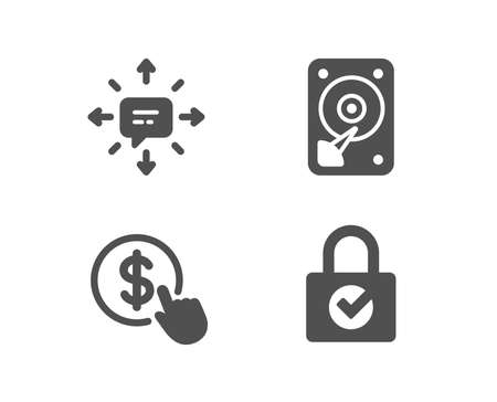 Set of Hdd, Sms and buy currency icons. Password encryption sign. Hard disk, conversation, money exchange. Protection locker. Quality design elements. Classic style. Vector illustration.