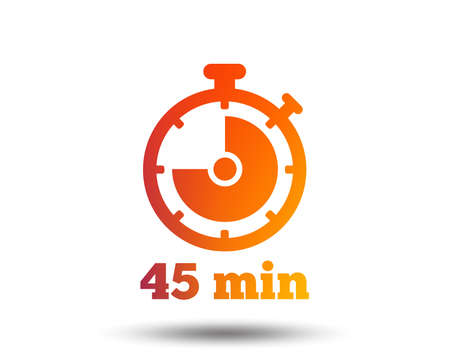Timer sign icon. 45 minutes stopwatch symbol. Blurred gradient design element. Vivid graphic flat icon. Vector illustration.