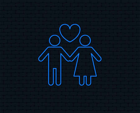 Neon light. Couple sign icon. Male love female. Lovers with heart. Glowing graphic design. Brick wall. Vector illustration.