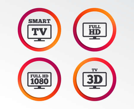 Smart TV mode icon. Widescreen symbol. Full hd 1080p resolution. 3D Television sign. Infographic design buttons. Circle templates. Vector Banco de Imagens - 96303244
