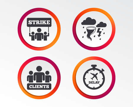 Strike icon. Storm bad weather and group of people signs. Delayed flight symbol. Info-graphic design buttons. Circle templates. Vector illustration.