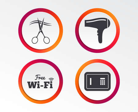 Hotel services icons. Wifi, hairdryer and deposit lock in room signs. Wireless network. Hairdresser or barbershop symbol. Info-graphic design buttons. Circle templates. Vector illustration. Illusztráció