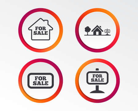 For sale icons. Real estate selling signs. Home house symbol. Infographic design buttons. Circle templates. Vector Ilustracja