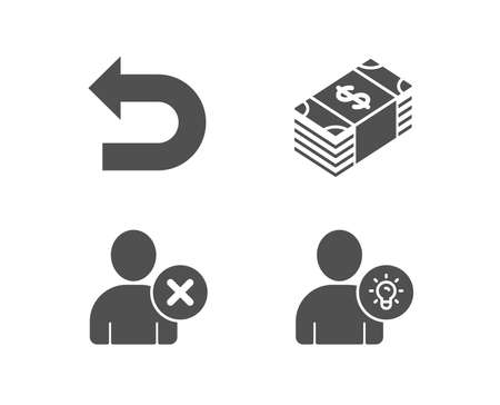Set of Usd currency, delete user and undo icons. User idea sign. Buying commerce, remove profile, left turn. Light bulb. Quality design elements. Classic style. Vector illustration. Illustration