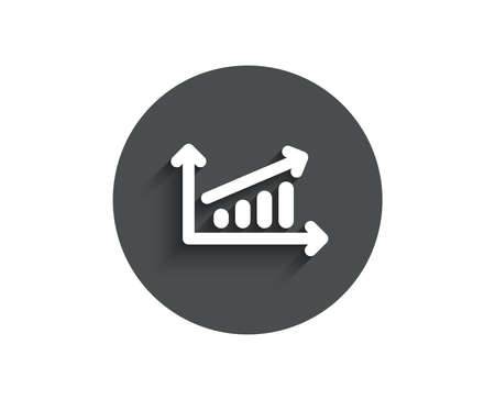 Chart simple icon. Report graph or Sales growth sign. Analysis and Statistics data symbol. Circle flat button with shadow. Vector illustration. Ilustração