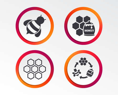 Honey icon. Honeycomb cells with bees symbol. Sweet natural food signs. Info-graphic design buttons. Circle templates. Vector illustration. Banco de Imagens - 96517148