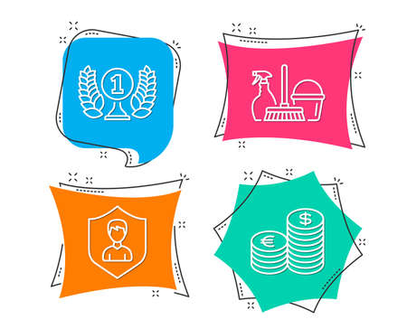 Set of household service, security agency and laureate award icons. Currency sign. Cleaning equipment, people protection, prize. euro and usd. Flat geometric colored tags. Vivid banners. Vector illustration.