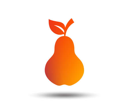 Pear with leaf sign icon. Fruit symbol. Blurred gradient design element. Vivid graphic flat icon. Vector illustration.