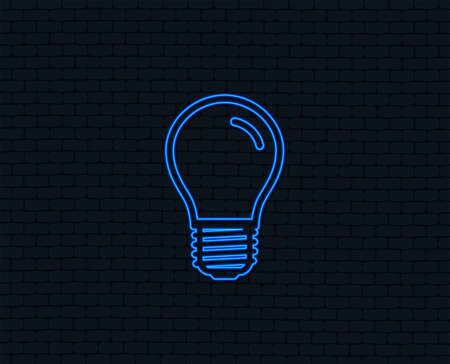 Neon light. Light bulb icon. Lamp E27 screw socket symbol. Led light sign. Glowing graphic design. Brick wall. Vector illustration. Illustration