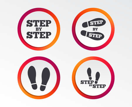 Step by step icons. Footprint shoes symbols. Instruction guide concept. Info-graphic design buttons. Circle templates. Vector illustration.