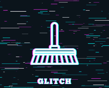 Glitch effect. Cleaning mop line icon. Sweep or Wash a floor symbol. Washing Housekeeping equipment sign. Background with colored lines. Vector illustration.