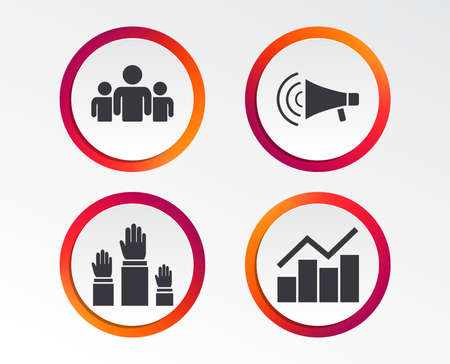 Strike group of people icon. Megaphone loudspeaker sign. Election or voting symbol. Hands raised up. Infographic design buttons. Circle templates. Vector Illustration