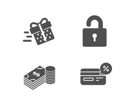 Set of lock, savings and present delivery icons. Cashback sign. Private locker, finance currency, shopping service. Non-cash payment. Quality design elements. Classic style. Vector illustration.