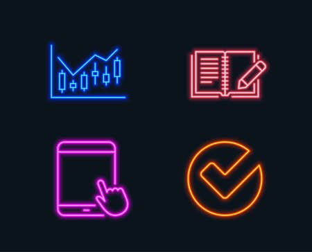 Neon Lights Set Of Financial Diagram Feedback And Tablet Pc