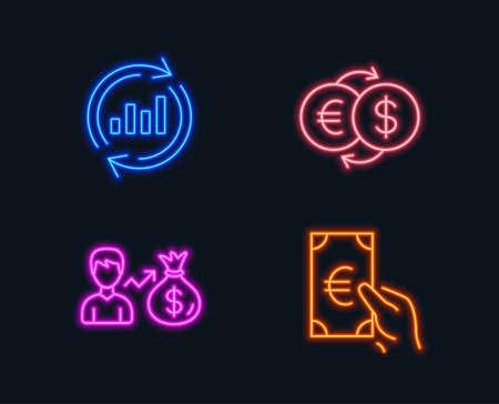 ネオン。更新データ、給与、および両替アイコンのセット。ファイナンスサイン。売上チャート、個人の収益、ユーロから米ドル。ユーロ現金。光