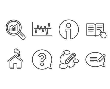 Set of question mark, stock analysis and data analysis icons. Read instruction, keywords and Message signs. Help support, business trade, magnifying glass. Vector illustration.