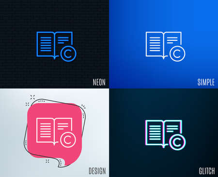 Glitch, neon effect. Copyright line icon. Copy writing or book sign. Feedback symbol. Trendy flat geometric designs. Vector illustration.