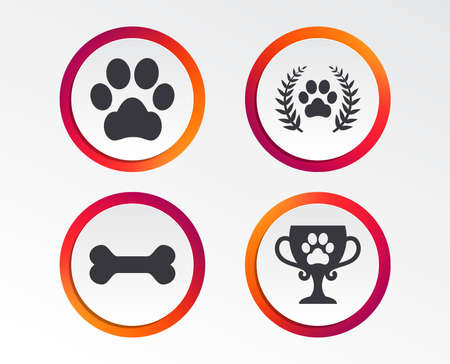 Pets icons. Dog paw sign. Winner laurel wreath and cup symbol. Pets food. Info-graphic design buttons. Circle templates. Vector illustration. Ilustrace