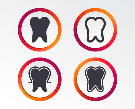 Tooth enamel protection icons. Dental care signs. Healthy teeth symbols. Info-graphic design buttons. Circle templates. Vector illustration.  イラスト・ベクター素材