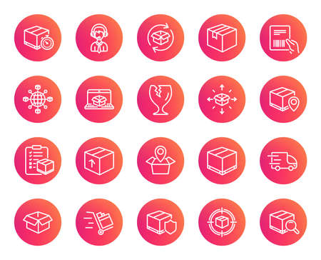 Logistics and Shipping line icons. Set of Truck Delivery, Box and Checklist signs. Push cart, Parcels tracking and World trade. Location pin, Goods Insurance and Document with barcode symbols. Vector