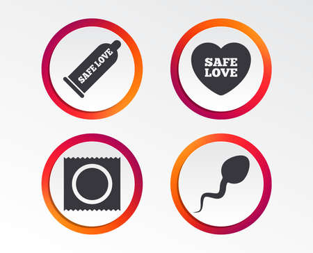 Safe love icons. Condom and package symbol. Sperm sign. Fertilization or insemination. Info-graphic design buttons. Circle templates. Vector illustration.