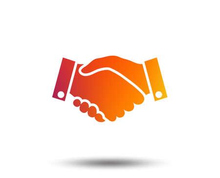 Handshake sign icon. Successful business symbol. Blurred gradient design element. Vivid graphic flat icon. Vector illustration.