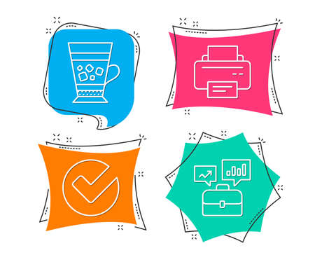 Set of Verify, Frappe and Printer icons. Business portfolio sign. Selected choice, Cold drink, Printing device. Job interview.  Flat geometric colored tags. Vivid banners. Trendy graphic design