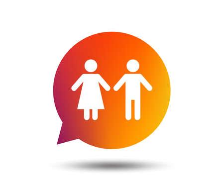 Toilet sign icon. Restroom or lavatory speech bubble symbol. Blurred gradient design element. Vivid graphic flat icon. Vector illustration.