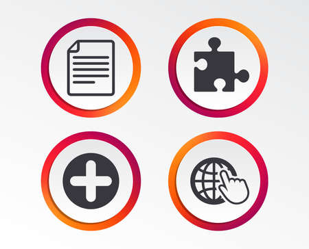 Plus add circle and puzzle piece icons. Document file and globe with hand pointer sign symbols. Info-graphic design buttons. Circle templates. Vector illustration.