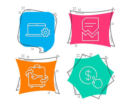 Set of notebook service, luggage and corrupted file icons. Buy currency sign. Computer repair, baggage locker, damaged document. Money exchange. Flat geometric colored tags. Vivid banners. Vector illustration.