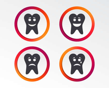 Tooth happy, sad and crying faces icons. Dental care signs. Healthy or unhealthy teeth symbols. Info-graphic design buttons. Circle templates. Vector illustration. Illusztráció