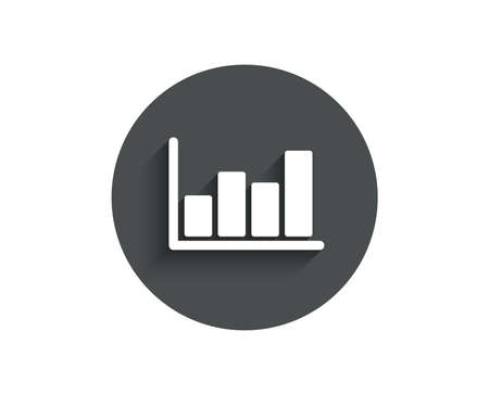 Histogram column chart simple icon. Financial graph sign. Stock exchange symbol. Business investment. Circle flat button with shadow. Vector illustration.
