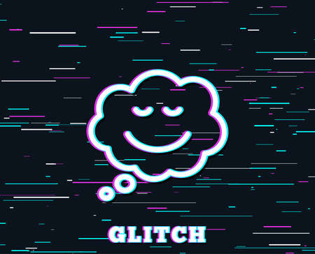Glitch effect. Comic speech bubble with Smile line icon. Chat emotion sign. Background with colored lines. Vector illustration.