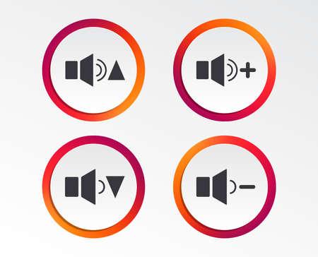 플레이어 컨트롤 아이콘. 더 크고 조용한 신호음. 동적 기호. 정보 그래픽 디자인 버튼. 서클 템플릿. 벡터 일러스트입니다.