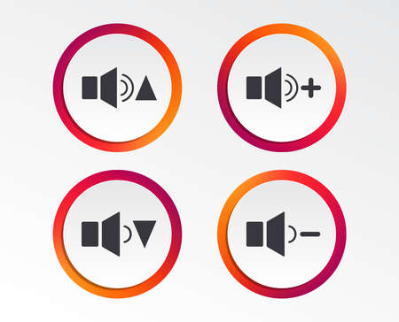 Player control icons. Sound louder and quieter signs. Dynamic symbol. Info-graphic design buttons. Circle templates. Vector illustration.