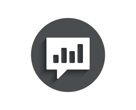 Chart simple icon. Report graph or Sales growth sign in speech bubble. Analysis and Statistics data symbol. Circle flat button with shadow. Vector illustration. Ilustração
