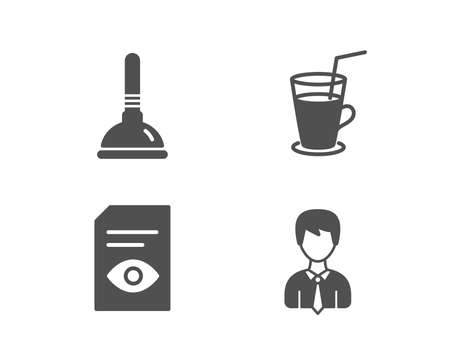 Set of Plunger, View document and Cocktail icons. Businessman sign. Clogged pipes cleaner, Open file, Fresh beverage. User data.  Quality design elements. Classic style. Vector Stock Illustratie