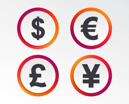 Dollar, Euro, Pound and Yen currency icons. USD, EUR, GBP and JPY money sign symbols. Infographic design buttons. Circle templates. Vector illustration. 向量圖像