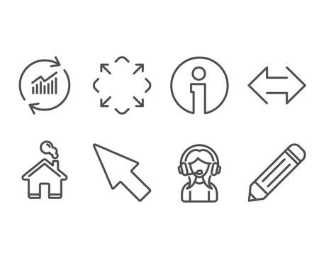Set of Update data, Maximize and Sync icons. Support, Mouse cursor and Pencil signs. Vector illustration. 일러스트
