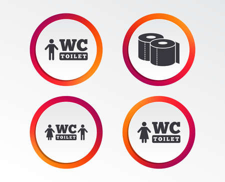 Toilet paper icons. Gents and ladies room signs. Man and woman symbols. Infographic design buttons. Circle templates. Vector illustration. Illustration